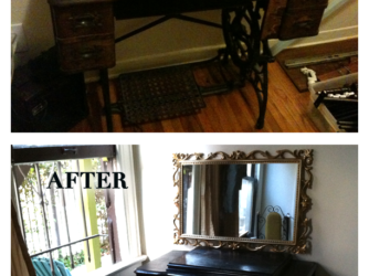 painted antique sewing table makeover