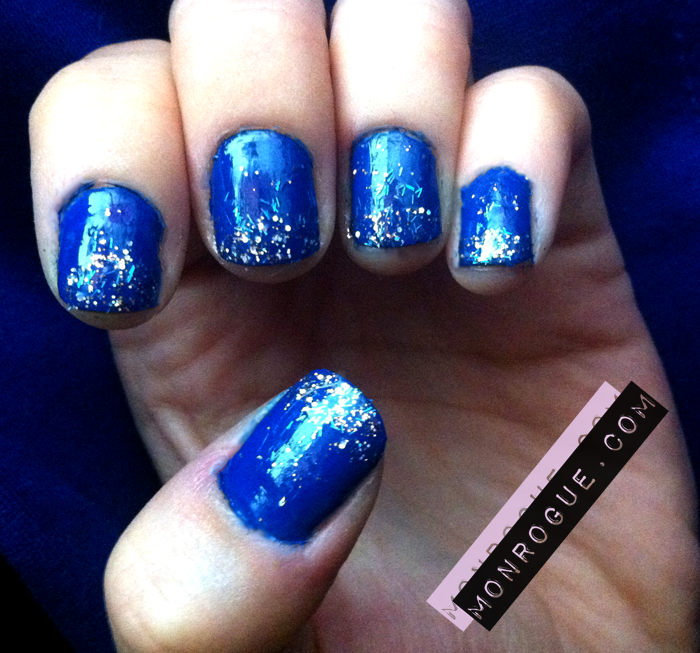 Nail Designs: Blue Glitter Tipped Nails Black & White Winter Snowflake
