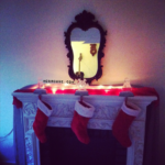 dark christmas fireplace