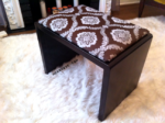 upholstered metal bench with hammered spray paint