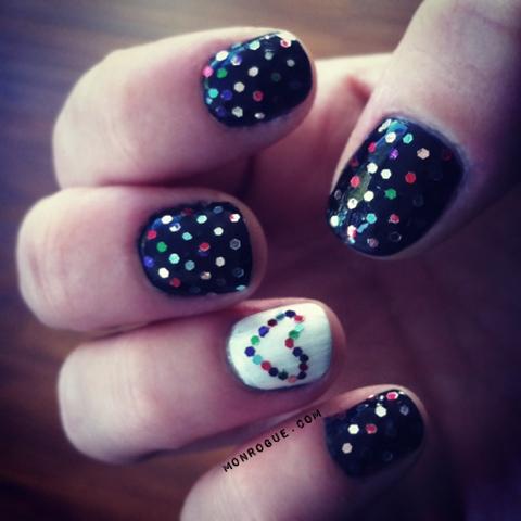multi color glitter dots nail art