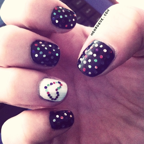 glitter dots & hearts nail art