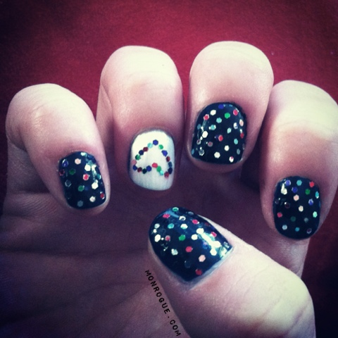 glitter dots & hearts with black and white polish