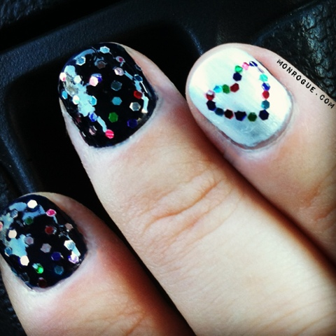 glitter dots & hearts gel nails