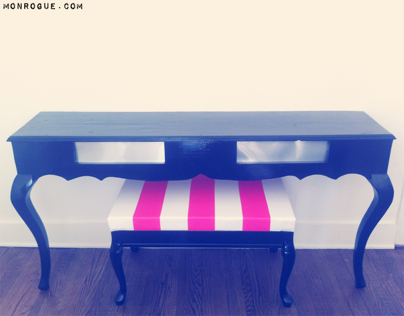 front view diy half table and striped bench by monrogue