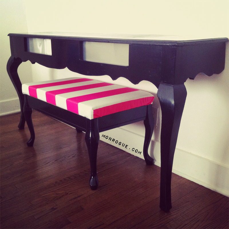 half table and striped bench diy via monrogue