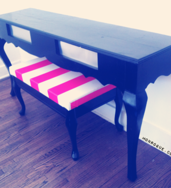 DIY Furniture: Half Table & Striped Bench from Desk & Coffee Table