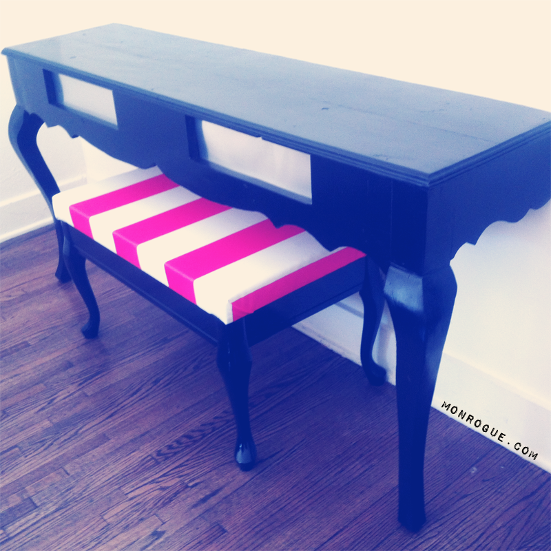 diy half table and striped bench via monrogue