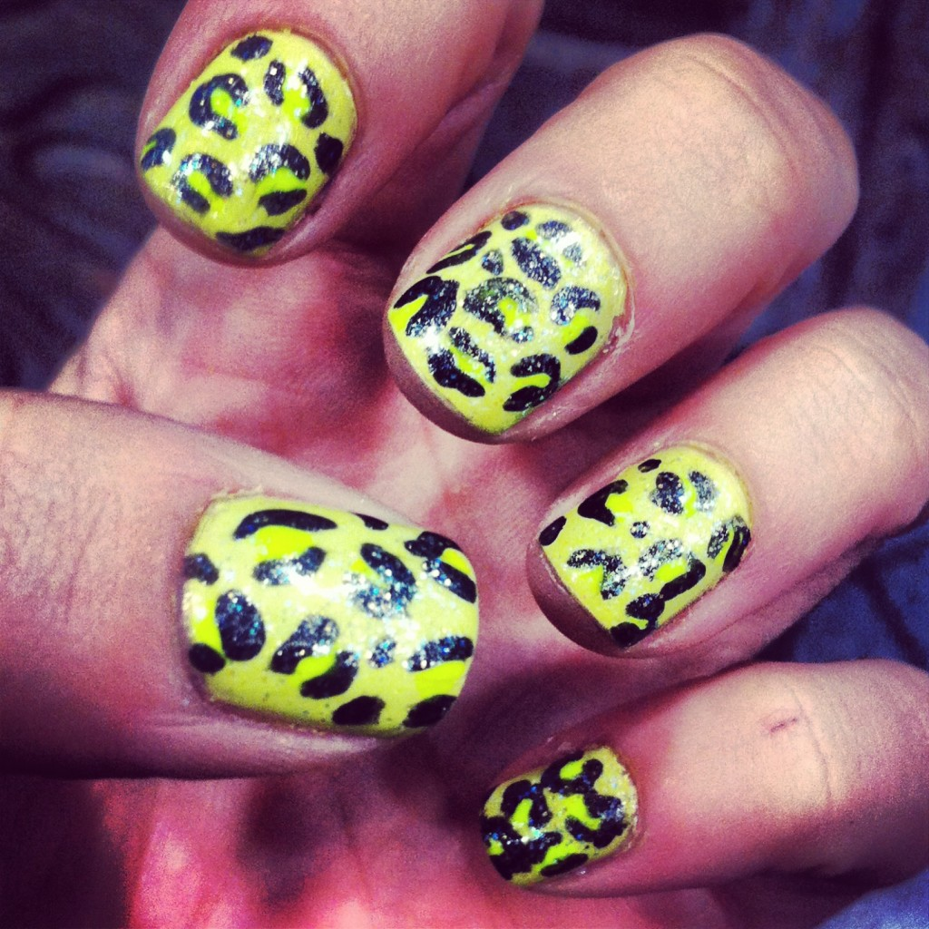 acid yellow green leopard print nails