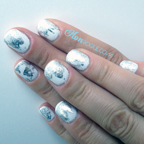 Silver nail foils on white polish - via Monrogue