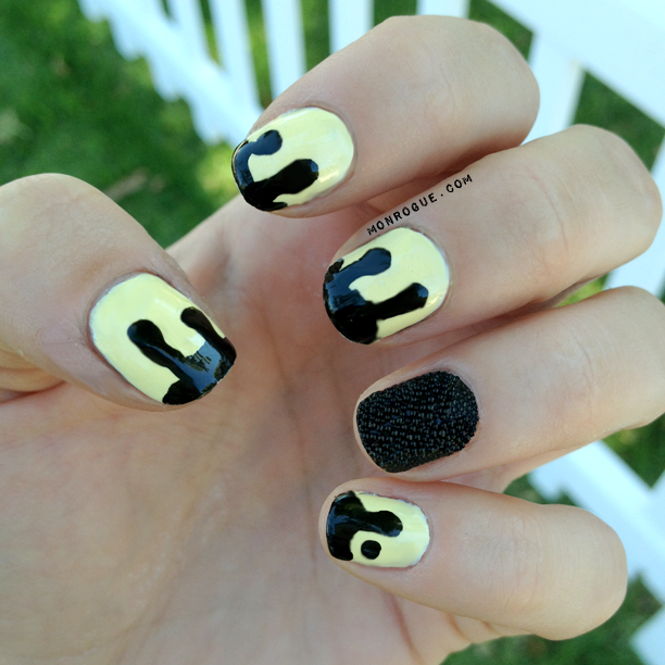 black & yellow drip and caviar nails via Monrogue