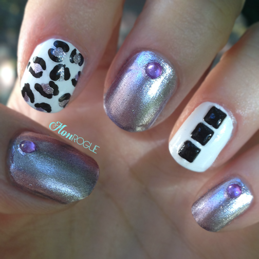 purple white and black leopard nails by Monrogue