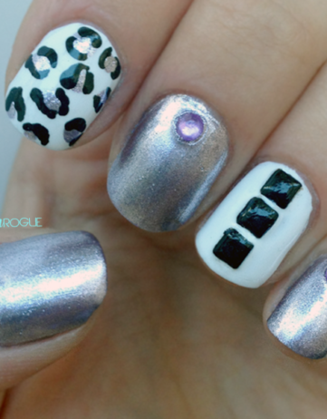 Talon Tuesday: Black, White, & Purple Manicure with Studs & Leopard Print!
