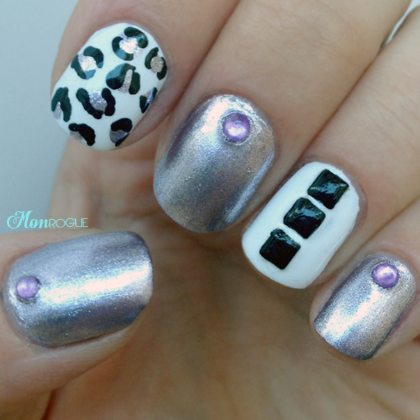 black, white, purple leopard nails by monrogue