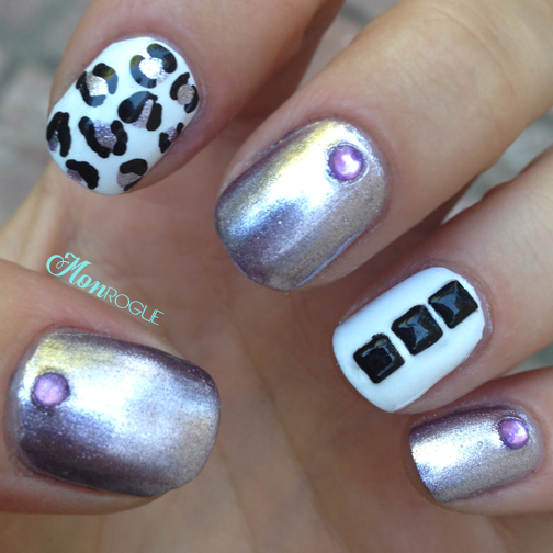 White, purple, and black leopard nails by Monrogue
