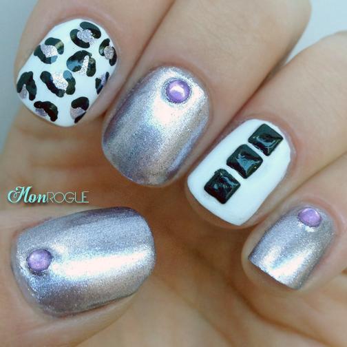 leopard stud manicure by Monrogue