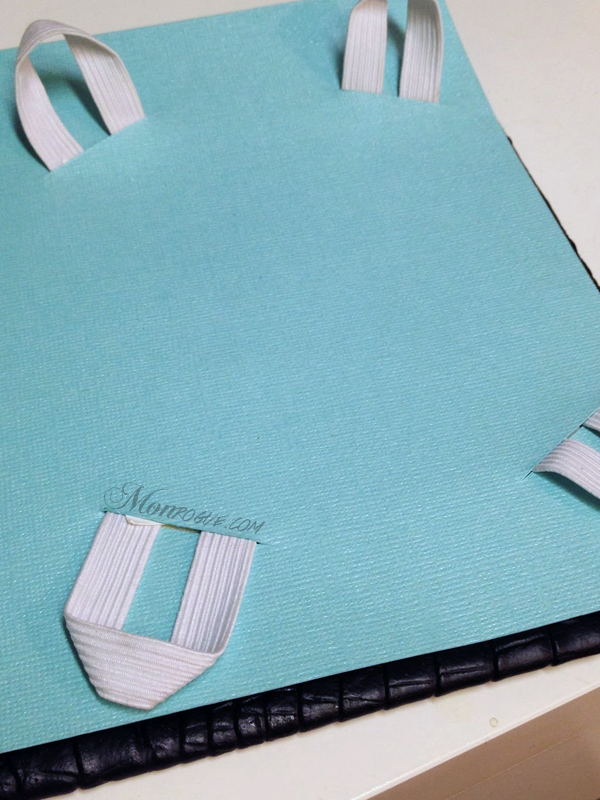 DIY iPad Case Step 7: Pull elastic through & glue cardstock