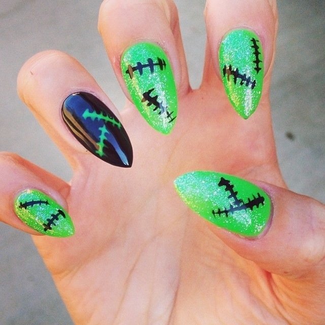 neon green Frankenstein nails for Halloween