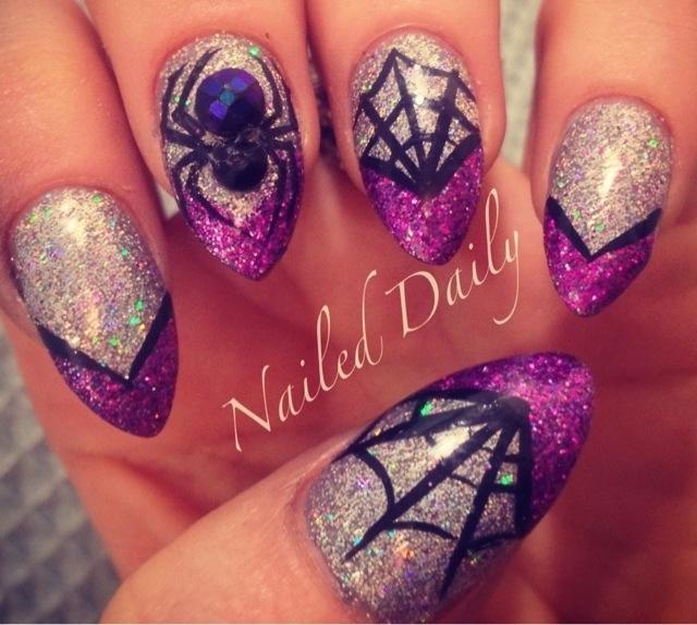 glitter spider nail art